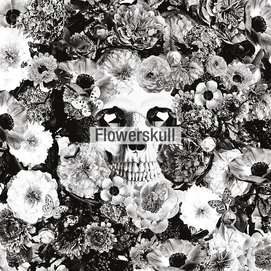 dibujo flowerskull laligne29 tela Fama 2020
