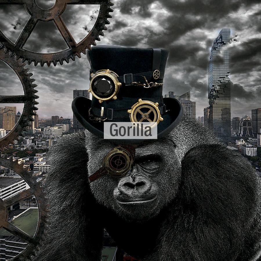 dibujo gorilla laligne29 tela Fama 2020